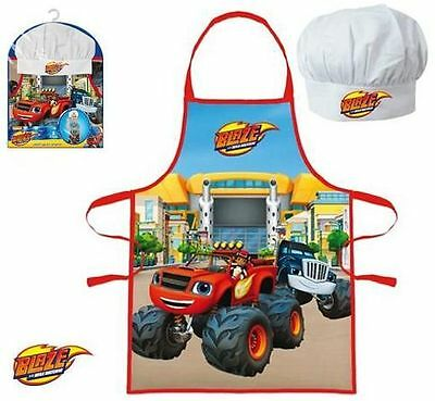Childrens Boys Blaze 2 Piece Cook Baking Gift Chef Set Includes Apron And Hat