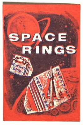 ESA0781. Vintage: SPACE RINGS Red Vending Machine Paper Ad Piece (1960's) SCARCE