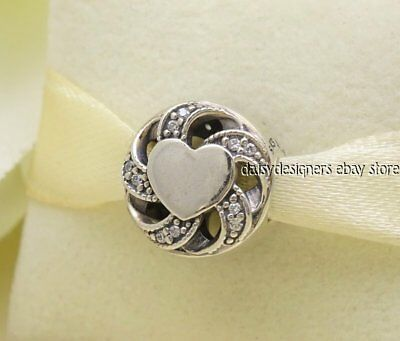 6b85e3374 AUTHENTIC PANDORA STERLING Silver Ribbon Heart Charm, Clear CZ ...