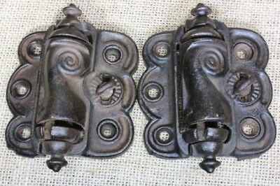 2 Screen Door Hinges iron quick release old self closing spring vintage pat 1896