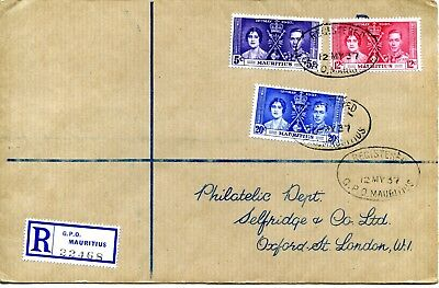1937 CORONATION MAURITIUS SELFRIDGES FDC 20c with LINE BY SCEPTRE VARIETY VGC
