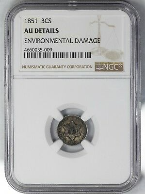 1851 3 Three Cent Silver 3Cs Ngc Certified Au Details About Uncirculated  (009)