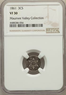1861 Three Cent Silver NGC VF 30 Maumee Valley Collection