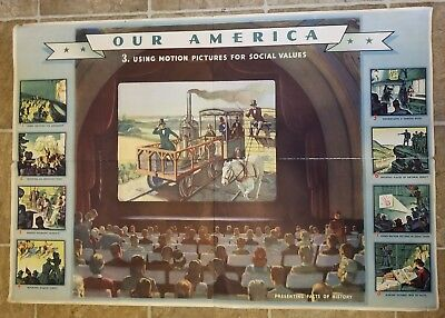 Coca-Cola WWII 1943 Our America Motion Pictures for Social Values 22x32 Poster