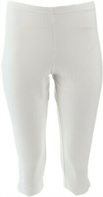Women with Control Pull-on Stretch Pedal Pushers Side Slits White M NEW A202284