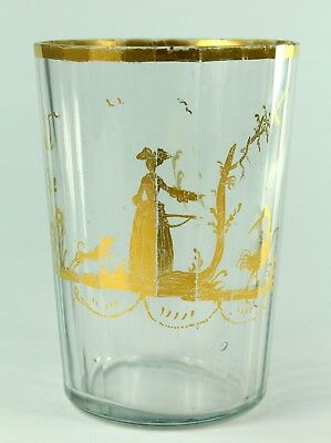 ! Antique 1700's Clear Crystal Glass Hand Blown Tumbler Hunting Scene Lady & Dog