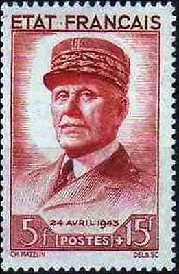 """FRANCE STAMP TIMBRE YVERT N° 580 """" PETAIN 5F + 15F ROUGE BRUN """" NEUF xx TTB"""