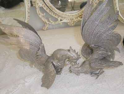 Vintage Pair Of Heavy Pewter Cockerels ( Figures)