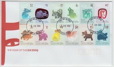 Stamps 2009 Christmas Island Australia year of the Ox block of 12 on FDC