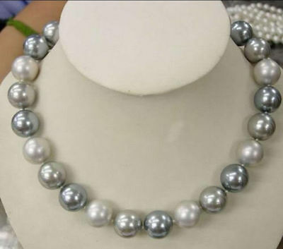 "Beautiful 10mm Elegant white Silver Gray Shell Pearl Necklace 18"" AAA"