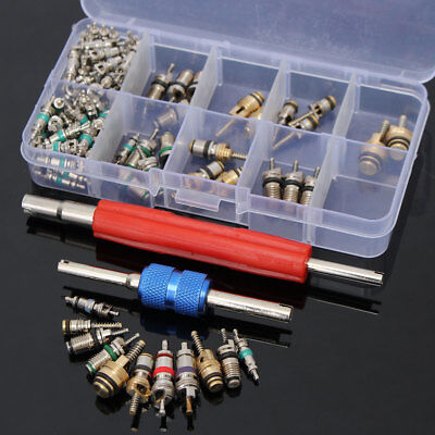 102Pcs R12 R134A Car Air Conditioning A/C Valve Core & Remover Tool For Honda GM