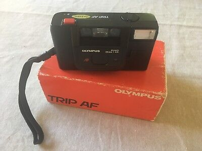 Olympus TRIP 35 AF 35mm Film Camera Box & Booklet - Excellent Condition