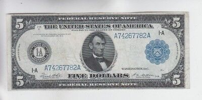 Federal Reserve Note $5 1914 vf+