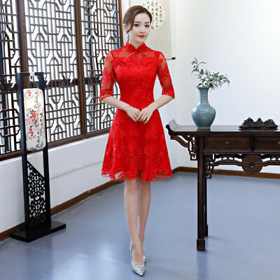 RED Summer Chinese Bridal gown short Wedding dress   lady's Lace evening dress