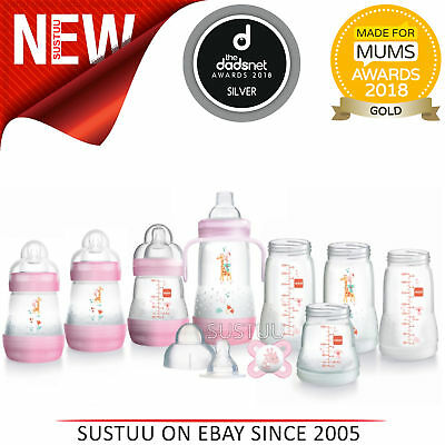 MAM Easy Start 15pcAnti-Colic Baby Feeding Bottle Starter Set│ Pink│Baby-Girl