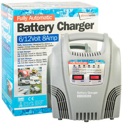Streetwize Fully Automatic Battery Trickle Charger 6/12Volt 8Amp Car Motorcycle