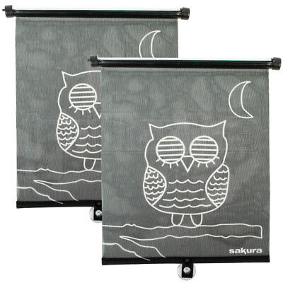Car Window Baby Roller Sunshade Blind Visor Sun Shade Van Cute Owl Design 2 Pack