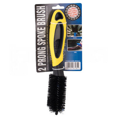 2 Prong Spokes Car Wash Brush Dirt Alloy Wheel Grills Radiator Covers Cleans
