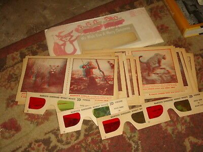 1950's Nabisco Shredded Wheat 3D Viewer Cards - 16 Cards, 6 Prs of Glasses