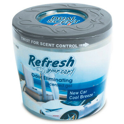Refresh New Car & Cool Breeze Air Freshener Odour Eliminating Scented Gel 5oz