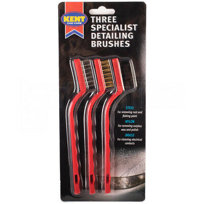 Kent Car Care Three Specialist Detailing Brushes Steel Nylon Brass Cleaner Tool