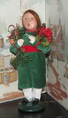 BYERS CHOICE Victorian Girl with Christmas Greens Pontsettias Pinecones 2007   *