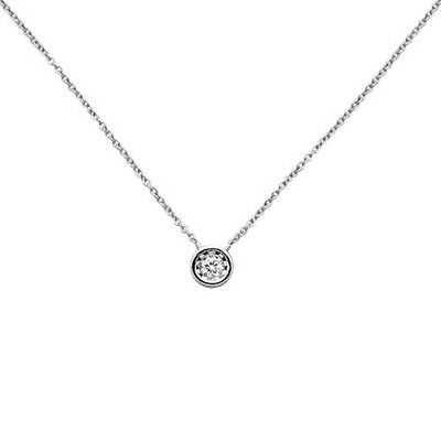 .11ct  G SI 14k White Gold Diamond Round Solitaire Bezel Pendant Necklace 18""