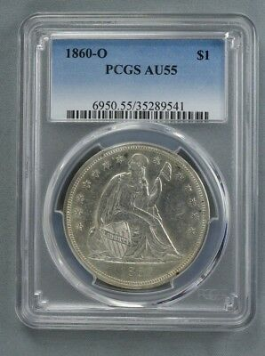 1860 O Liberty Seated Dollar $1 Pcgs Certified Au 55 About Uncirculated (541)