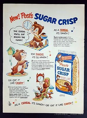 1950 NEW Post's SUGAR CRISP Vintage Magazine Print Ad