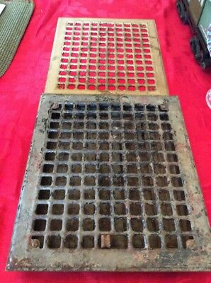 "Antique Vintage Metal Heat Register wall Floor Grate With louvers 12""x14"" Vent"