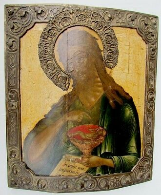 BEAUTIFUL ANTIQUE 18th CENTURY LARGE RUSSIAN ICON OF JOHN THE BAPTIST