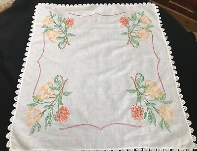 Vintage Hand Embroidery Pears Luncheon Cloth Or Tablecloth With Crochet Trim