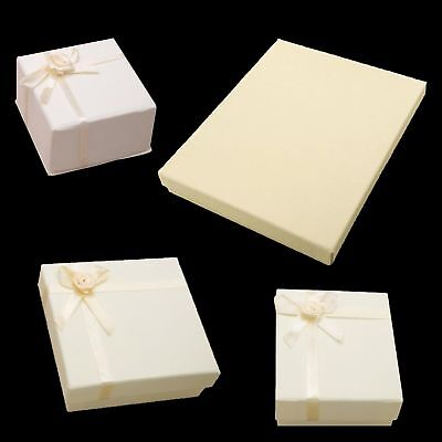 Pack of 10 Cream Jewellery Boxes Necklace, Earring, Bracelet - Various Sizes