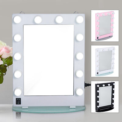 Hollywood Makeup Vanity Mirror Lighted Dimmer Aluminum Beauty Stage LED 12 Bulbs
