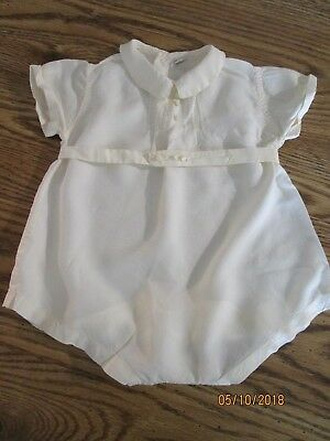 Vintage Baby Boy Satin Christening Romper by Peter Polly Togs