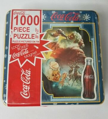 *New* 1999 Coca Cola Santa Reindeer 1000 Piece Puzzle Factory Sealed Tin 20 X 27