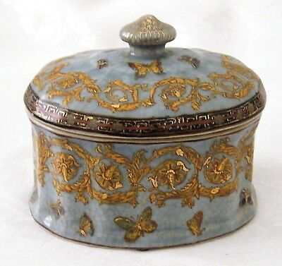 Ironstone Trinket Box with Lid Blue with Gold Design Butterflies