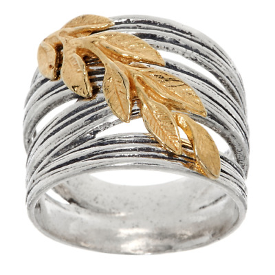 Or Paz Sterling Silver Two-Tone Textured Oxidized Diagonal Leaf Ring Size 8 Qvc