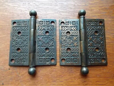 "Two Antique Fancy Ornate Eastlake Victorian Door Hinges 3 1/2"" c1885"