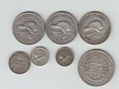 New Zealand Silver Selection 3d to Half Crown 6 Coins + UK 6d 1910