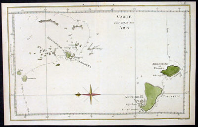 1778 Capt. Cook Antique Map The Tonga Islands HMS Resolution & Adventure in 1773