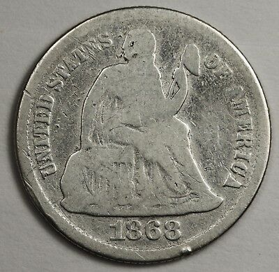 1868 Liberty Seated Dime.  V.G.  125151