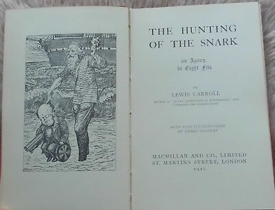 1916 The Hunting of the Snark by Lewis Carroll H Holiday Antiquarian Children's