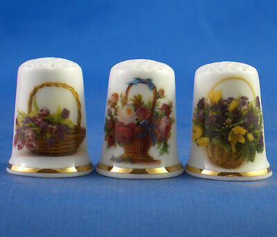 Fine Porcelain China Thimbles - Flower Basket Collection