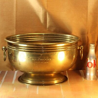 """Large Vintage Brass Oval Wine Cooler 11"""" x 15"""" Champagne Ice Bucket Italia Italy"""