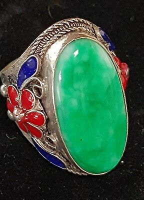 Enamel Cloisonne Jadeite Jade Cabochon Chinese Silver Export Ring Hallmarked old