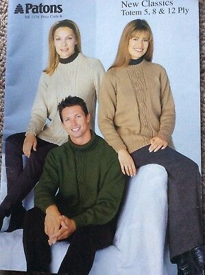 Vintage Patons Knitting Pattern Book 1178 New Classics Totem 5, 8 & 12 Ply