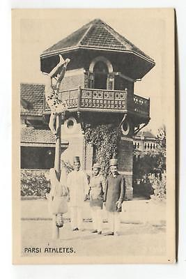 Farsi athletes, India - pole dancing! - old postcard published in Calcutta