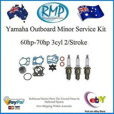 New Yamaha Water Pump Kit & 3 x Spark Plugs 60hp-70hp # R 6H3-W0078