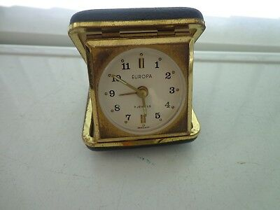 Small Vintage Europa 7 Jewels Travel Alarm Clock Made In Germany